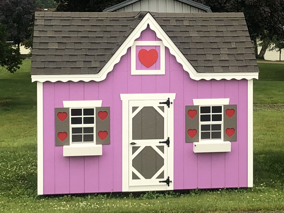 Pink playhouse, loft, windows, white trim, shutters, flowerboxes